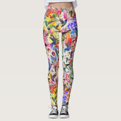 #floral - #Humming Birds and Flowers Leggings