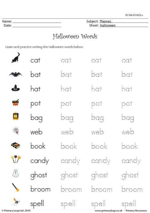 halloween words worksheet halloween printable worksheets primaryleap. Black Bedroom Furniture Sets. Home Design Ideas