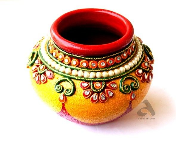 Papermache matki kalash half kg pearl 590 480 for Art and craft pot decoration