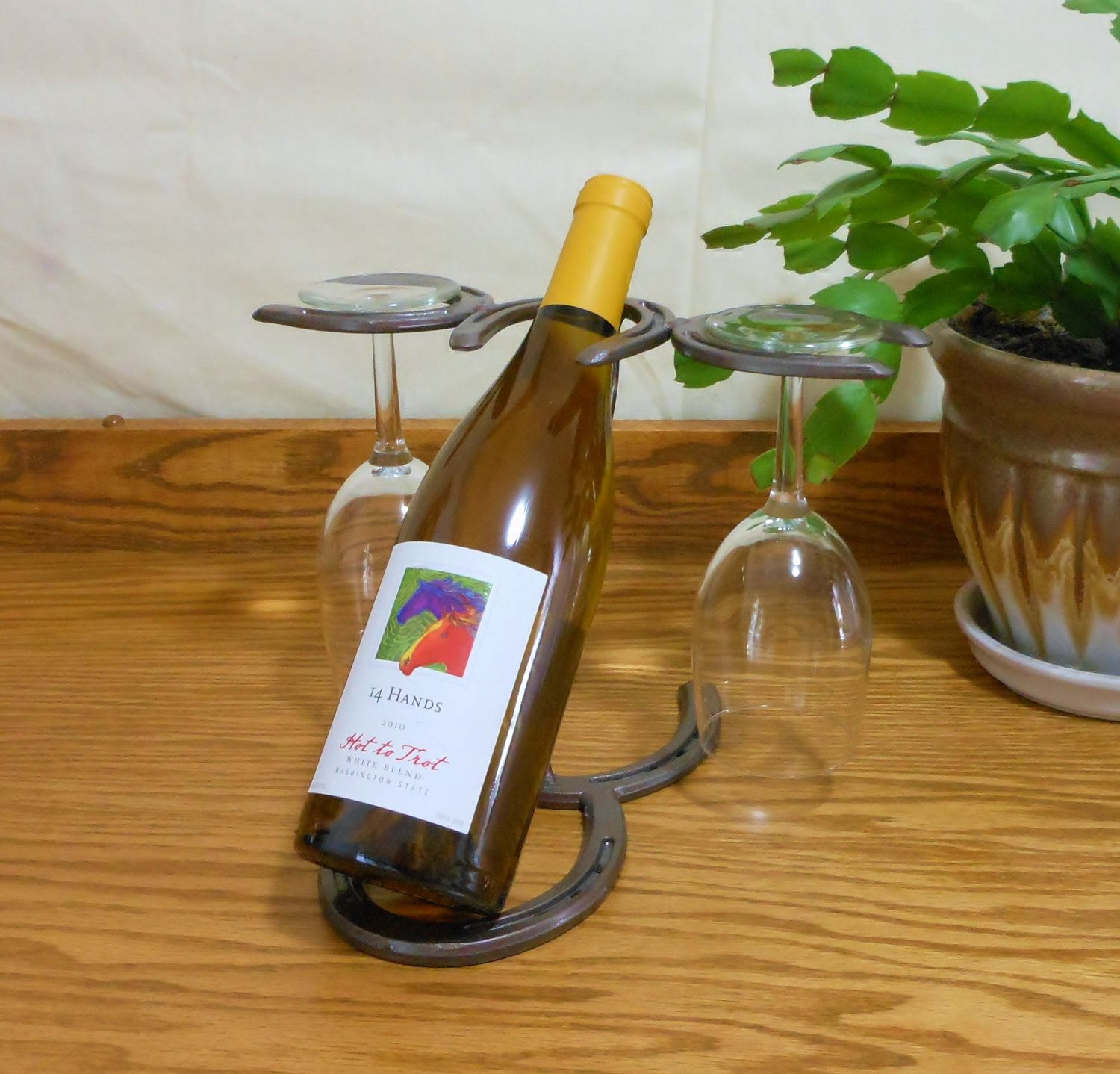 Horseshoe Wine Bottle Holder wine glass holder