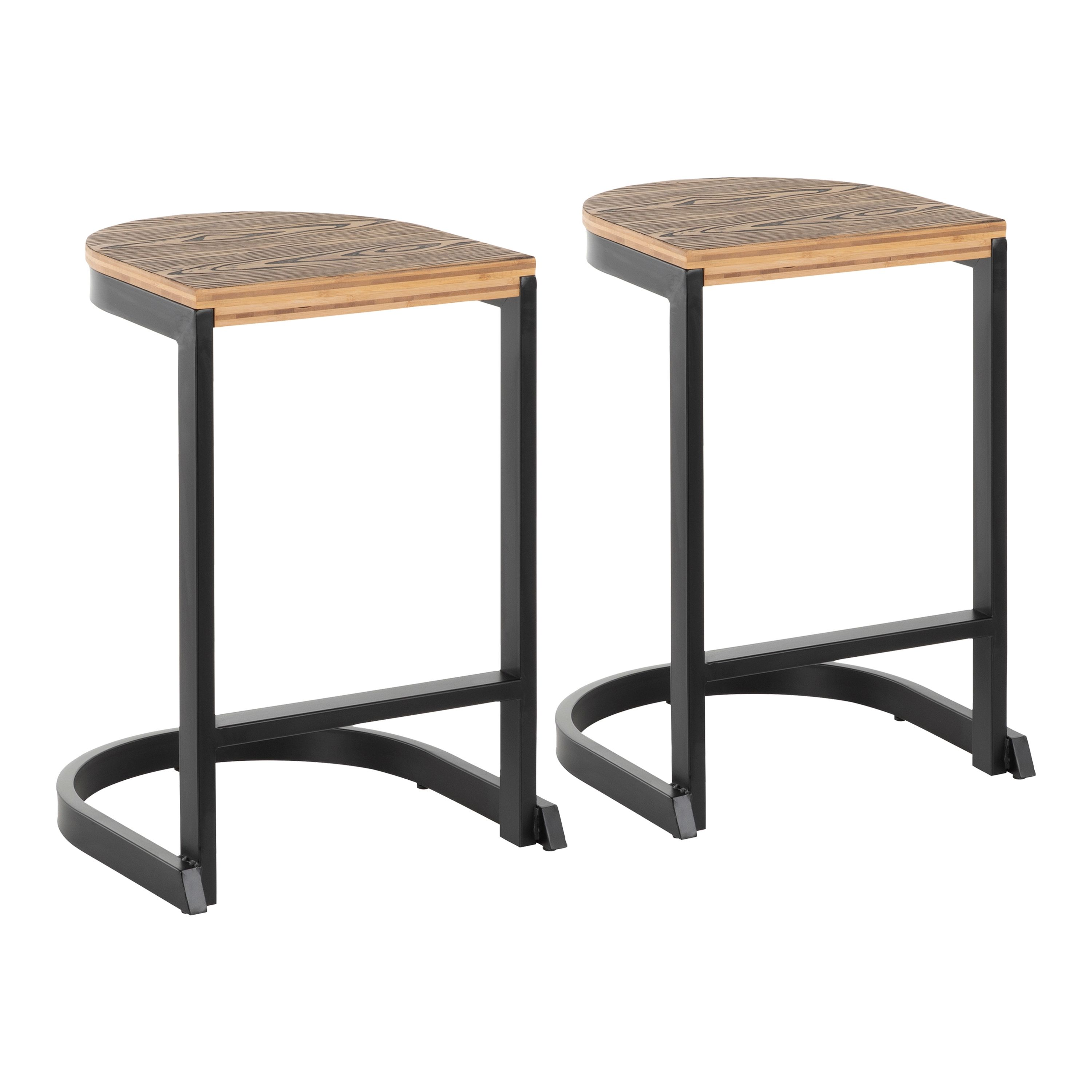 Industrial Demi Counter Stool Set Of 2 Yellow Black Counter Stools