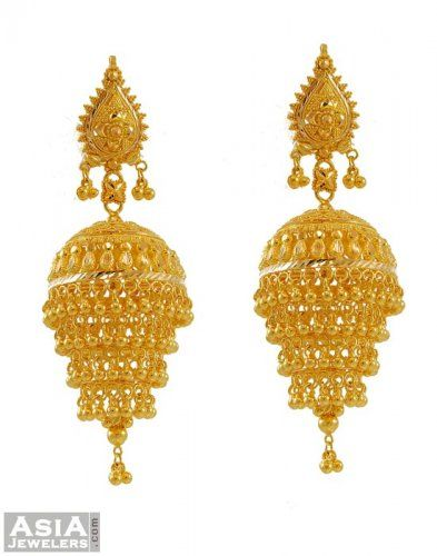 Designer Gold Chandelier Yellow Earrings Are Beautifully Designed In Typical Indian Style Jhumki