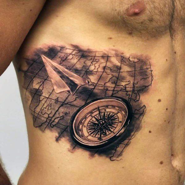 Paper airplane world map ribs tattoo for men fun pinterest paper airplane world map ribs tattoo for men gumiabroncs Gallery
