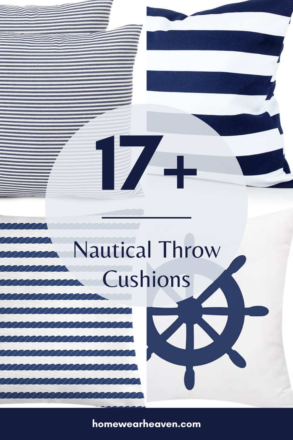 These are the best nautical throw cushions for your beach house. Choose from a range of navy and white throw cushions which will look perfect in your beach themed guest bedroom or your coastal living room. You can even buy these on Amazon, which means they're super easy to access and get in your home.  #cushions #throwcushions #nauticaldecor #beachhouse