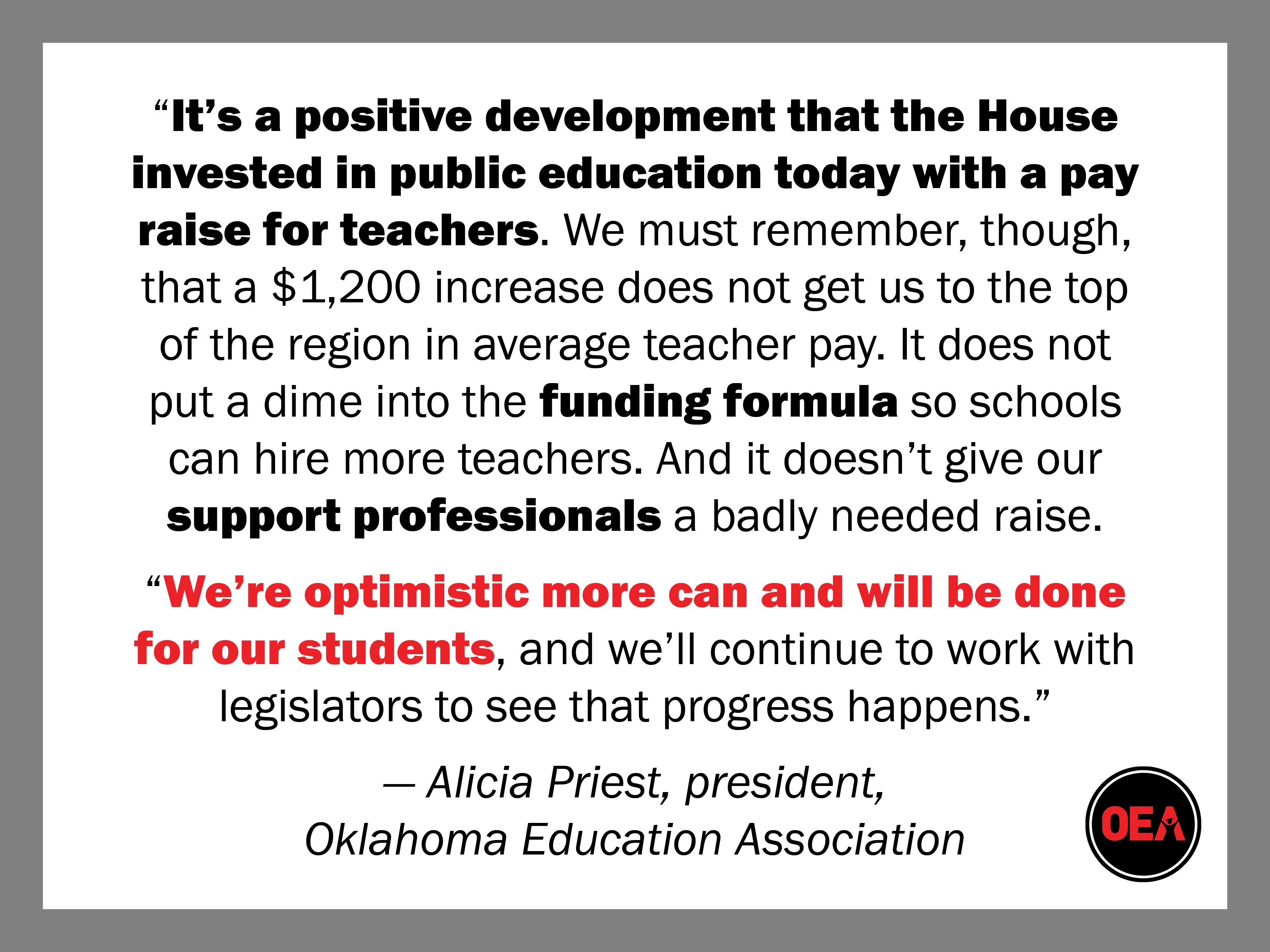 A Response To The Oklahoma House Of Representatives Unanimously Approving House Bill 1780 Which Would Increase The Education Teacher House Of Representatives