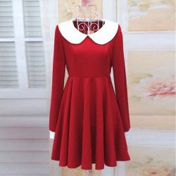 $14.12 Sweet Preppy Style Round Neck Long Sleeve White Collar and Cuffs Embellished Pleated Dress For Women