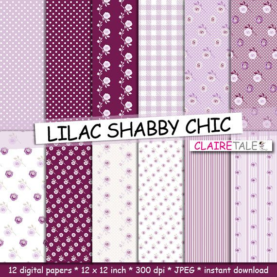 Digital Papers Lilac Gingham Polka Dots Shabby Chic Stripes Backgrounds Chess Backdrops