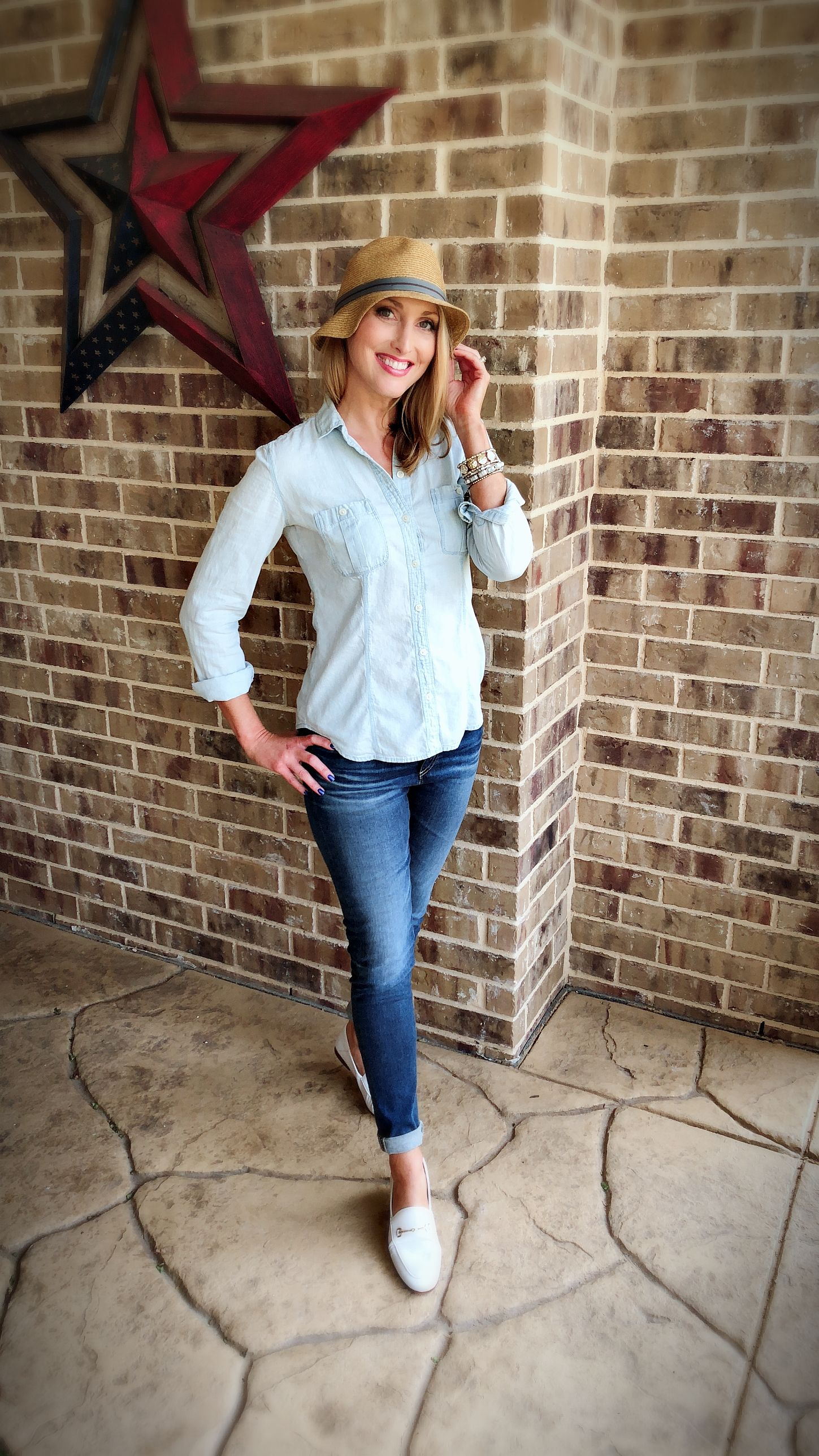 """c35a99fd5ba2 Jeans  AG """"Farrah Ankle Skinny"""" Bracelets  Berry Jewelry (old). Casual  outfit. White loafer outfit. Chambray shirt outfit. Loafers  Sam Edelman """" Loraine"""" ..."""