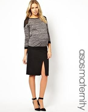 Maternity Column Midi Pencil Skirt With Front Split