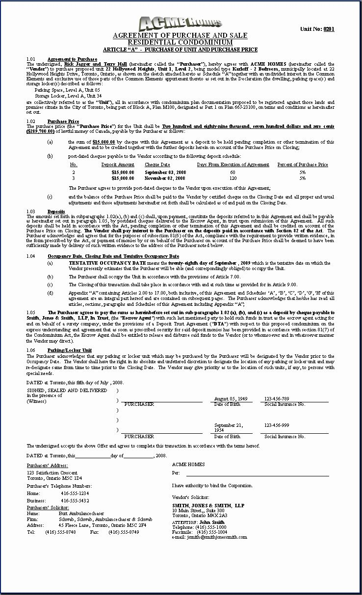 Example Of A Purchase Agreement In 2020 Contract Template