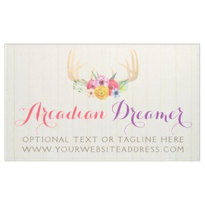 Rustic Floral Antlers Painted Watercolor On Wood Banner