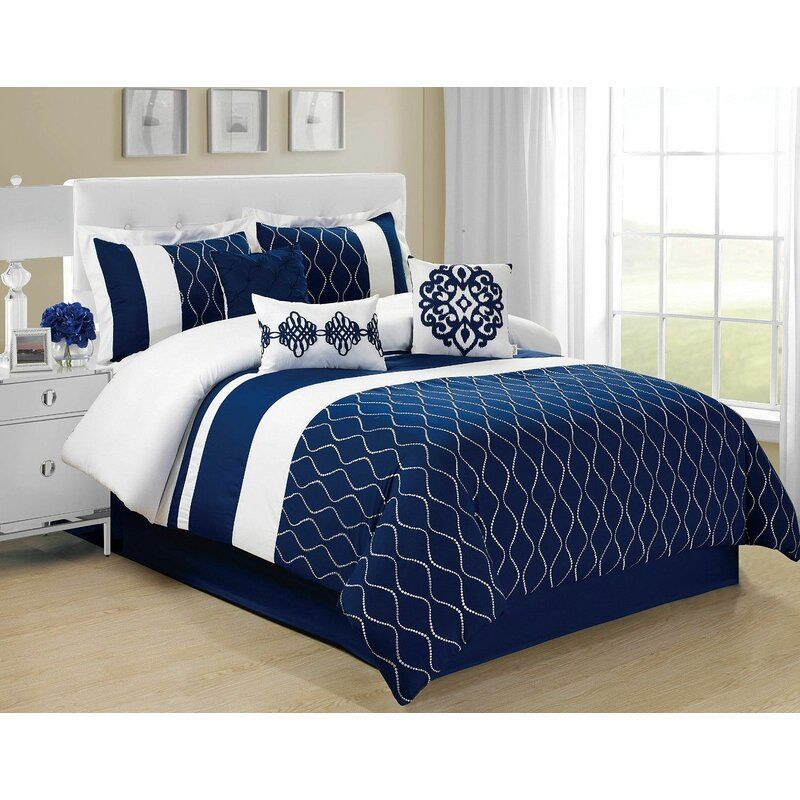 Sedwick Comforter Set In 2020 With Images Comforter Sets Blue