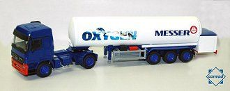 This Mercedes-Benz Actros 7 Messer T285 Gas Tanker Diecast Model Lorry is Blue and White and features working wheels. It is made by Conrad and is 1:50 scale.  ...