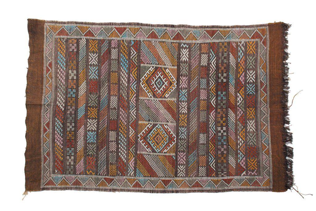 """Vintage Moroccan Tan Lines 3'3""""x5' Rug"""