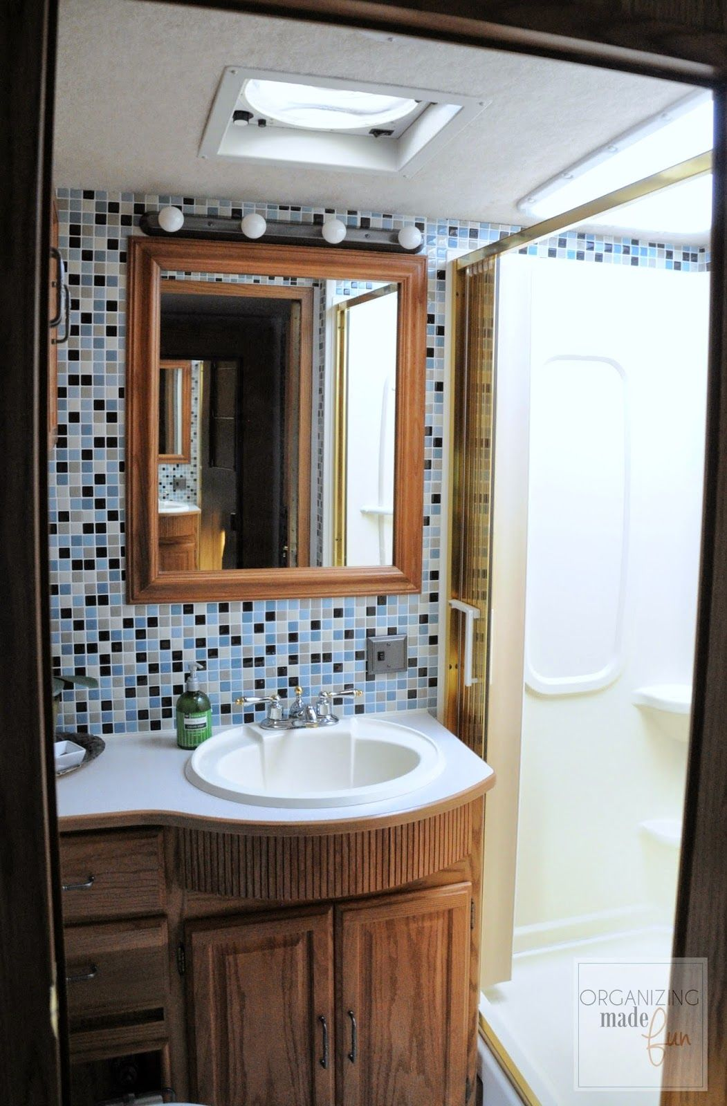 RV Bathroom After Tiled With Smart Tiles OrganizingMadeFun - Small trailer with bathroom for bathroom decor ideas