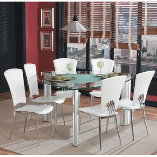 Chintaly Tracy White 7 piece Triangle Glass Top Dining Table Set ...