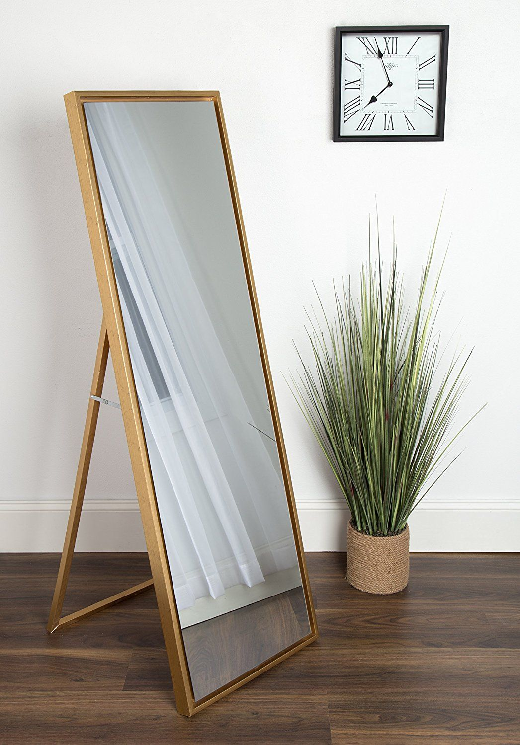 Amazon Com Kate And Laurel Evans Wood Framed Free Standing Mirror With Easel Gold Kitchen Dining Mirror Wall Decor Wall Decor Living Room Floor Mirror