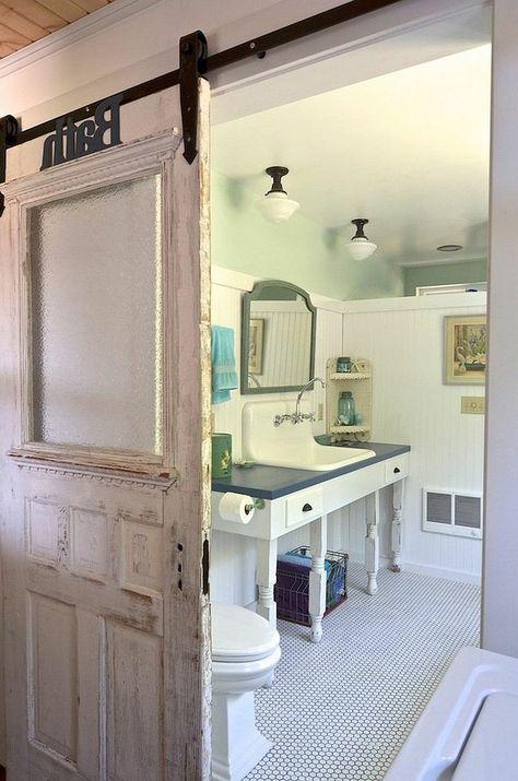 schiebetüren bad gleittüren weiß shabby chic u2026 Shabby chic - schiebetür für badezimmer