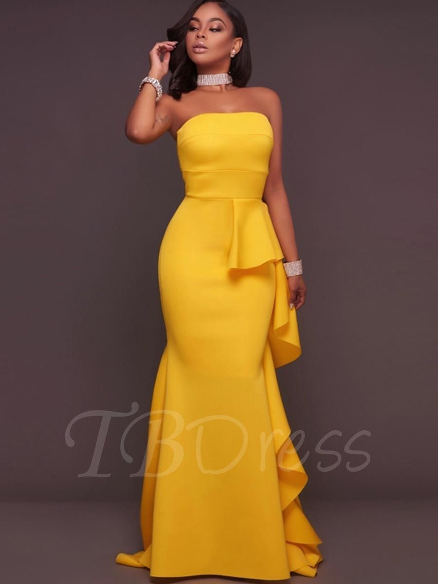 cf09bfc31e16 Tbdress.com offers high quality Strapless Falbala Bodycon Women's Maxi  Dress Maxi Dresses unit price of $ 19.99.