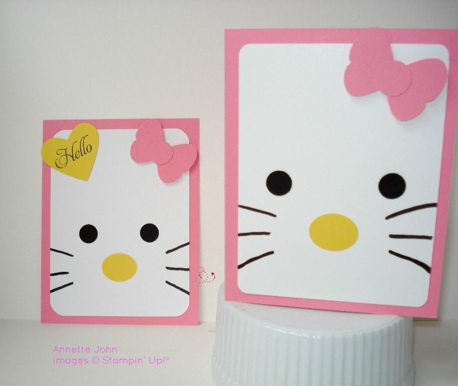 Hello Kitty card for my April card class. Cased from a gift bag created by  Connie Stewart. a39e8e392a534