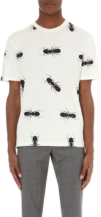 150f0098 PAUL SMITH MAINLINE Ant-print cotton-jersey t-shirt | Mens | Printed ...