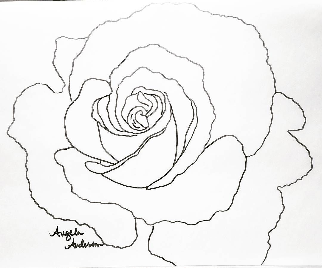 rose traceable coloring sheet by angela anderson flowers