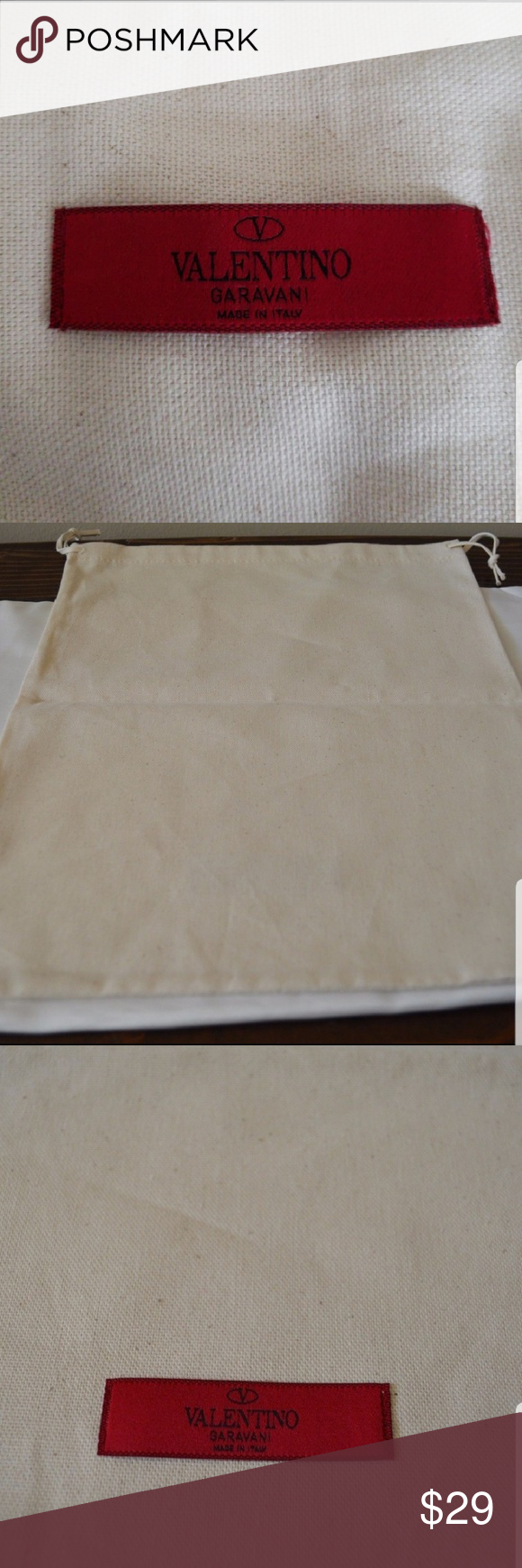 Valentino Large Natural Canvas Drawstring Dust Bag Sleeper for your shoes or goodies.  Measurements...