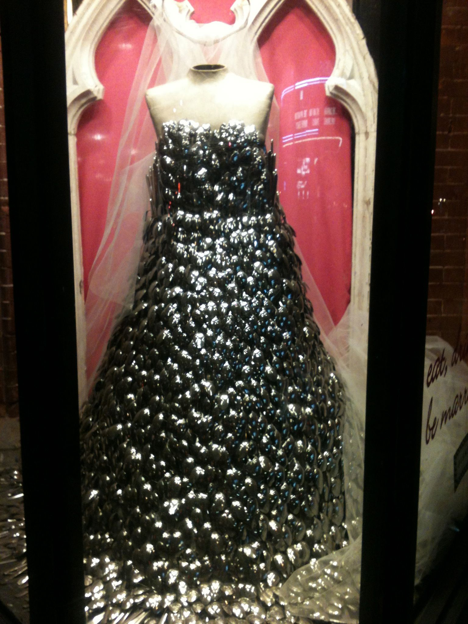 NYC Kitchen Supply Store. Dress Made Out Of Spoons 2012.