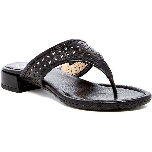 Amalfi by Rangoni Rione-Perf Perforated Sandal (£94) ❤ liked on Polyvore featuring shoes, sandals, black nappa, black low heel sandals, low heel shoes, leather shoes, black shoes and black slip on sandals