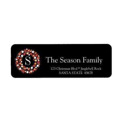 Monogram Bauble wreath holiday label | Zazzle.com