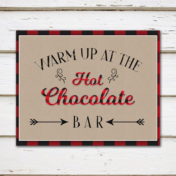 Printable Hot Chocolate Bar Sign, Warm Up Hot Cocoa Bar, Buffalo Plaid, Printable Kit, Food Label, Table Sign, Winter Party, Coffee, MB266