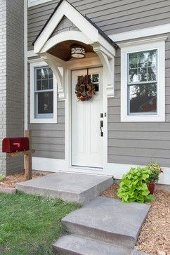 Color Timberbark James Hardie Pre Finished Siding House Exterior Portico Entry House Front