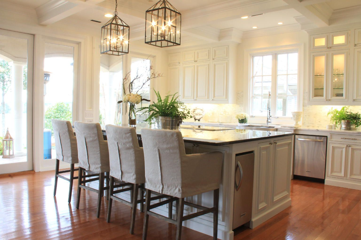 Slip covered, linen bar stools | Interiors: Kitchen | Pinterest ...