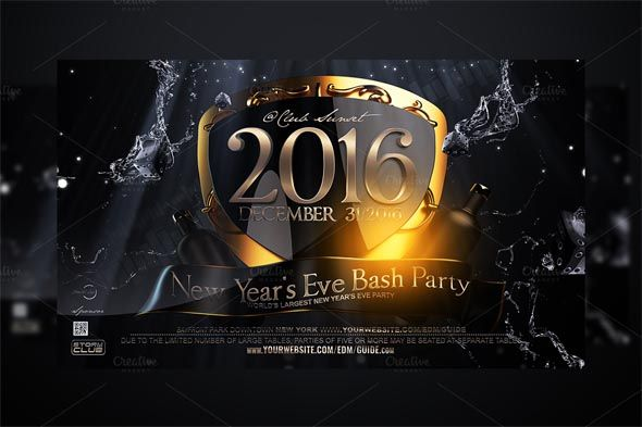 Gold Friday Party Flyer by feydesign on @creativemarket Luxury - new year brochure template