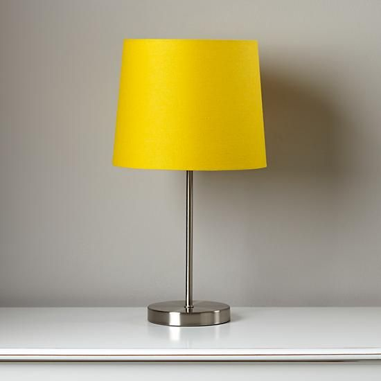 Light years yellow table shade and nickel base the land of nod kids table bedside lamps yellow lamp shadesyellow aloadofball Image collections