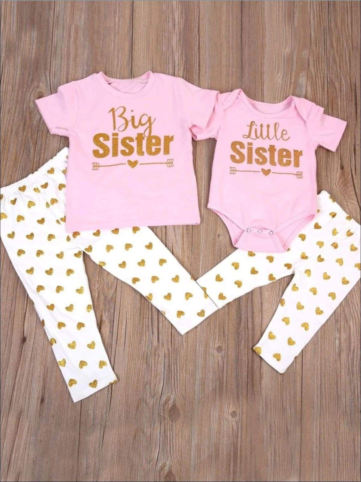 Big Sister Little Sister Matching Shirt And Polka Dot Leggings Set In 2021 Big Sister T Shirt Sister Outfits Big Sister Little Sister