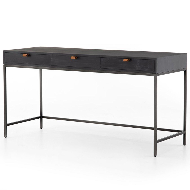 Theodore Industrial Loft Black Wood Iron 3 Drawer Desk In 2020 Desk With Drawers Iron Desk Office Desk Designs