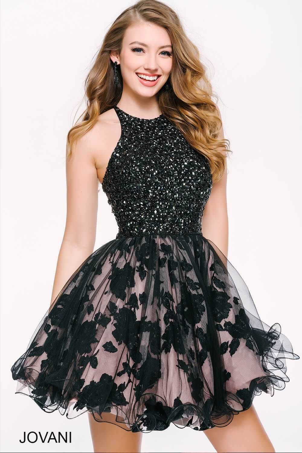 This #jovani 42215 with a sequined top and fit and flare skirt is ...