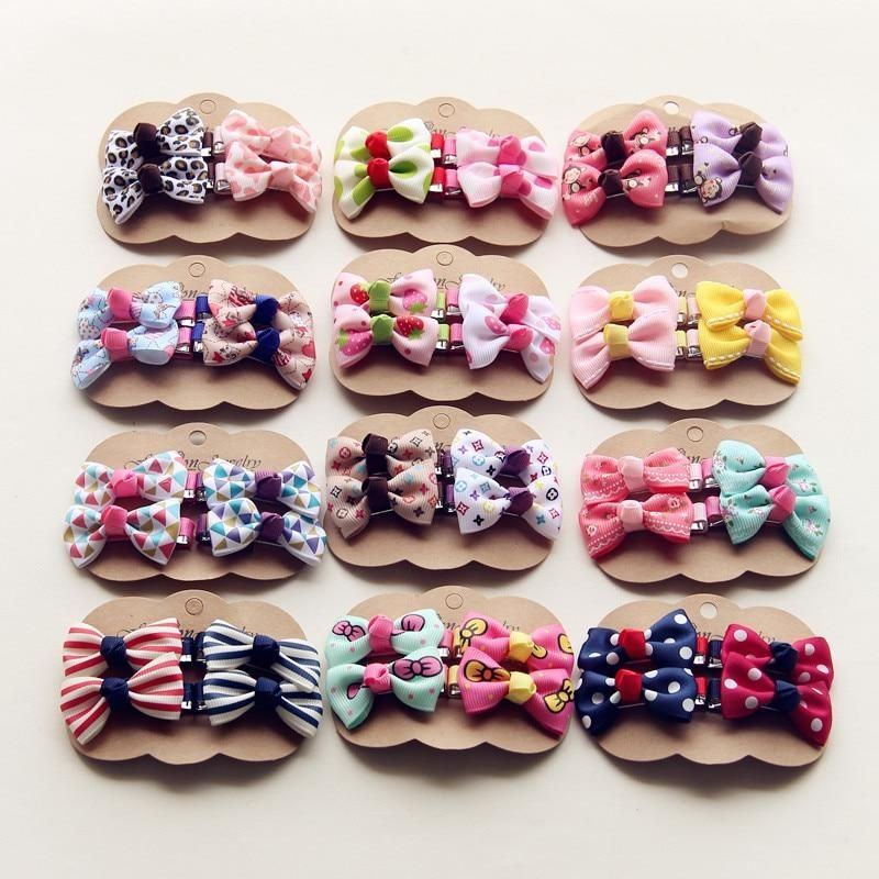 4PCS//Lots Kids Bowknot Hair Clips Girls Baby Gift Hair Accessory Cute Fashion