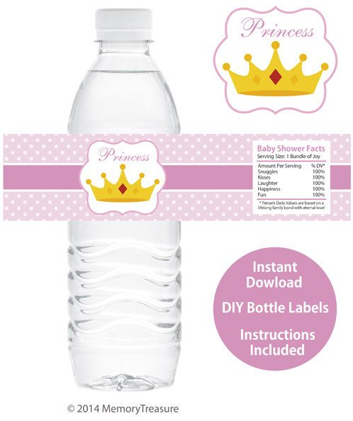 Princess Baby Shower Water Bottle Wrappers Printable Baby Shower