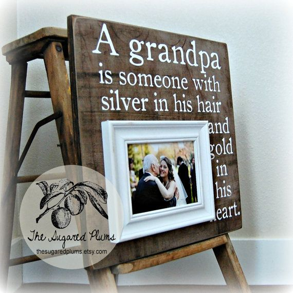 Flowers in December Grandpa GIFT Grandparents frame Grandpa frame Personalized picture frame Papa gift Rustic home decor farmhouse frame