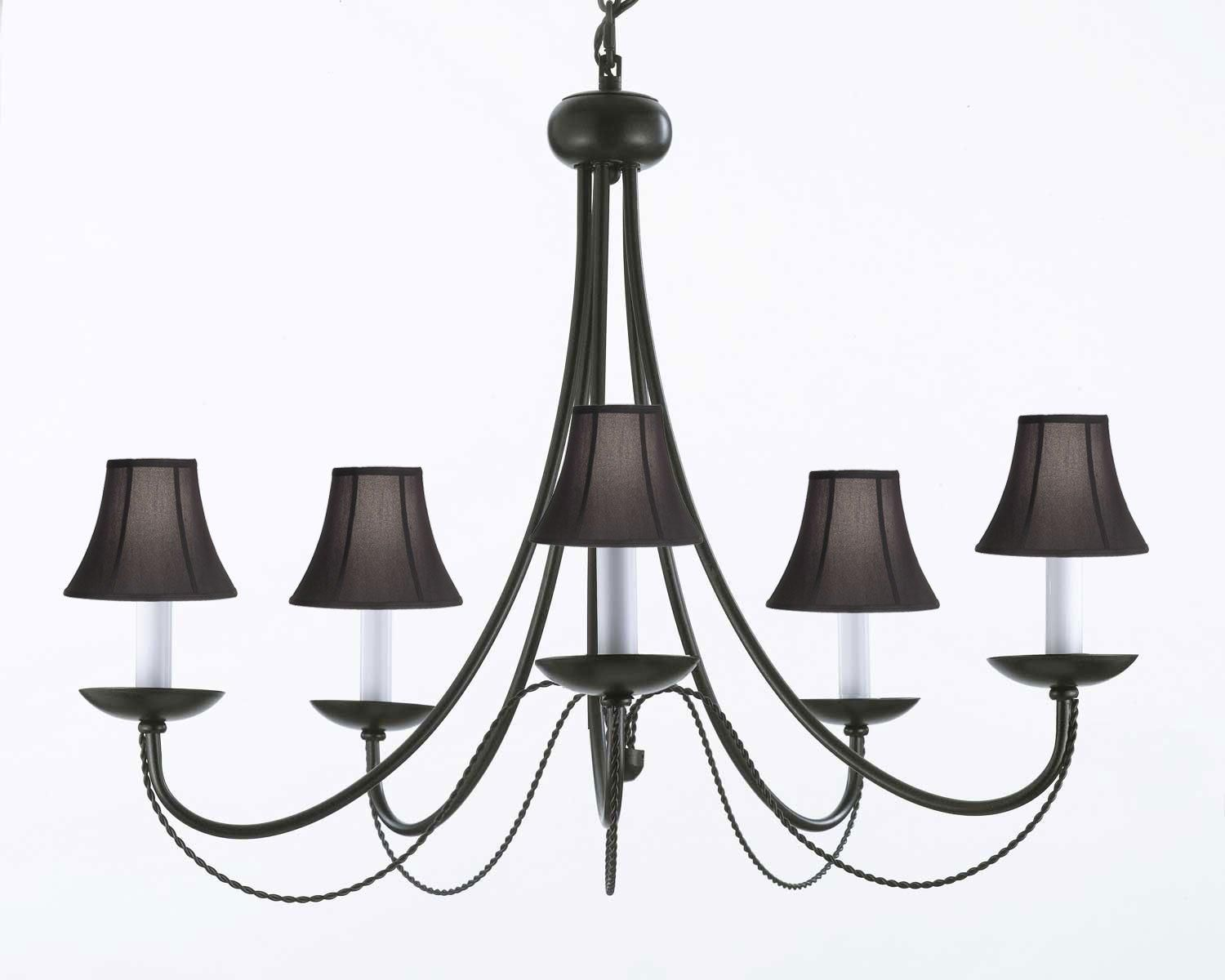 Wrought iron chandelier lighting with black shades h22 x w26 wrought iron chandelier lighting with black shades h22 x w26 aloadofball Image collections