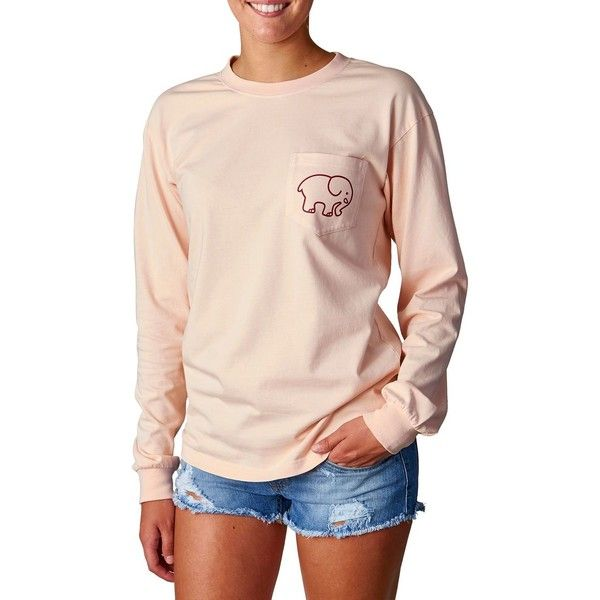 254fa6c79192 Ivory Ella Women s Rose Pigment-Dyed Long-Sleeve T-Shirt ( 50) ❤ liked on  Polyvore featuring tops
