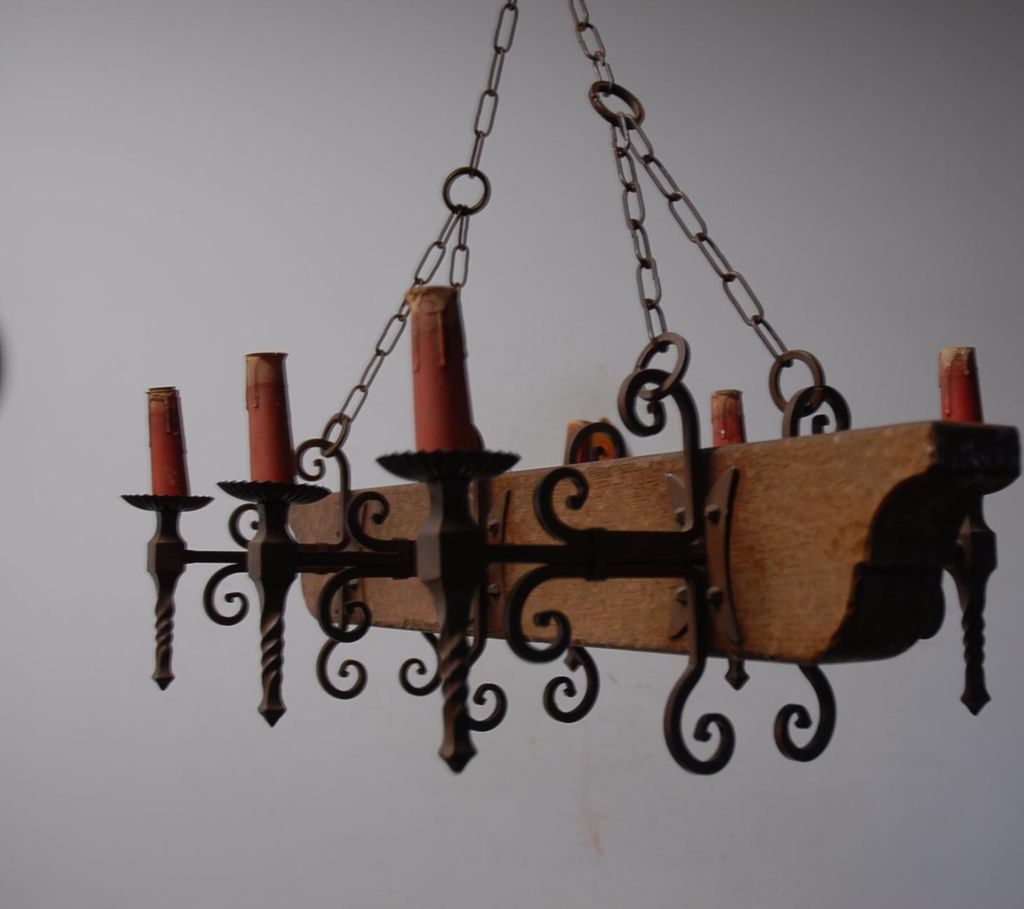 A French Vintage Wood Wrought Iron 6 Light Castle Chandelier