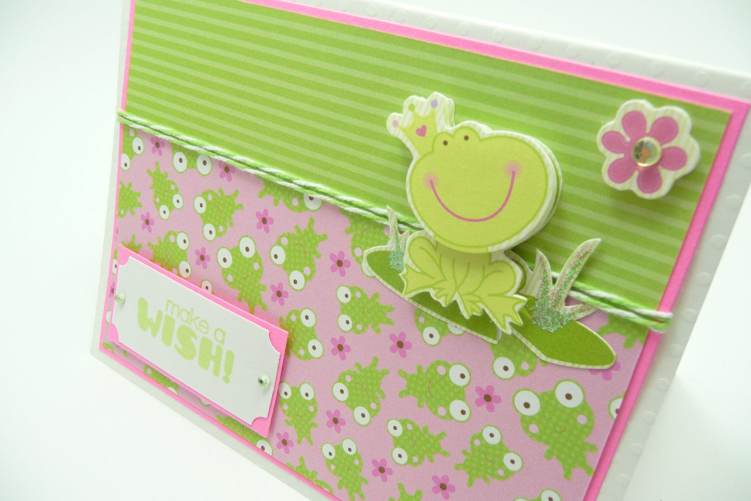Little Girl's Princess Birthday Card, Pink and Green