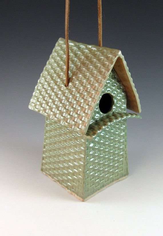 Ceramic Bird House / Basketweave Birdhouse / by Botanic2Ceramic, $70.00