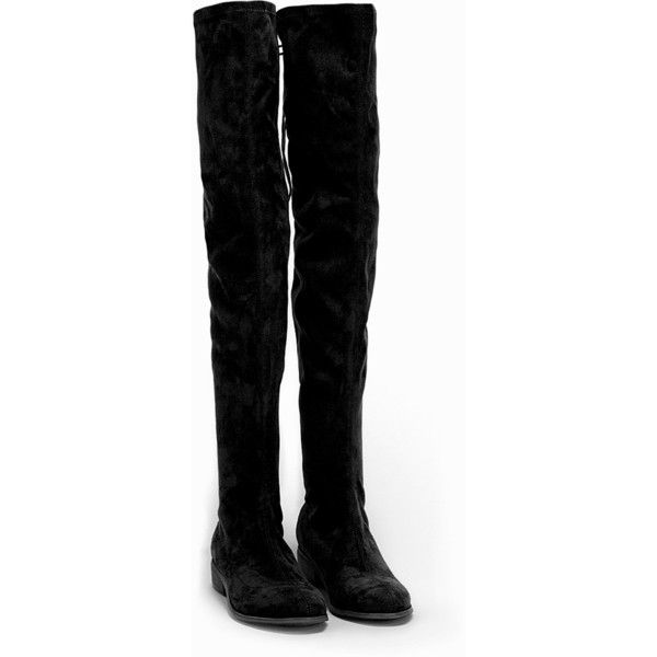 4b54e6057815e Nly Shoes Flat Thigh High Boot ($78) ❤ liked on Polyvore featuring shoes,  boots, black, nelly, skor, everyday shoes, womens-fashion, black flat boots,  ...