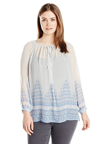 e22df56ae42 Lucky Brand Womens Plus Size Chevron Peasant Top BlueMulti 1X   BEST VALUE  BUY on Amazon  Casuals