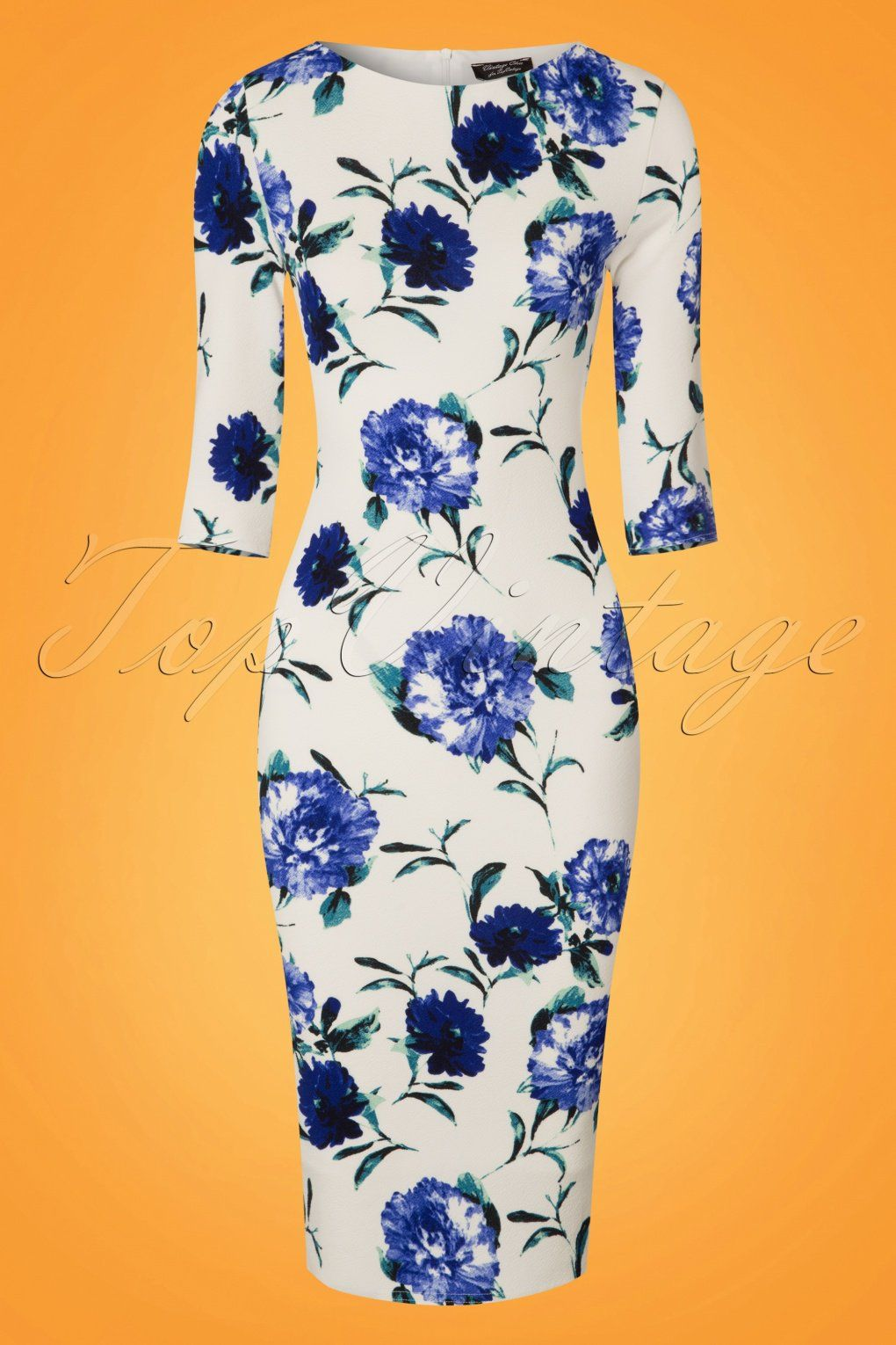 vintage chic for topvintage 50s lynne flower pencil dress in