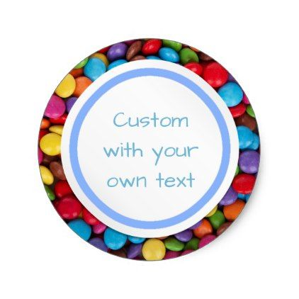 Custom colorful button candy classic round sticker